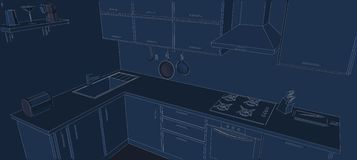 Sketch drawing of 3d contemporary corner kitchen interior white lines on blue background Royalty Free Stock Photo