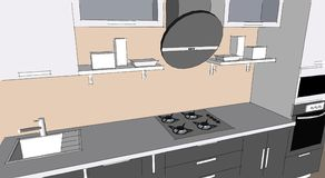 Sketch drawing of 3d grey modern kitchen interior with round hood and glass doors of cupboards Royalty Free Stock Photos