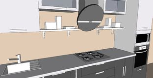 Sketch drawing of 3d grey modern kitchen interior with round hood and glass doors of cupboards Stock Photo