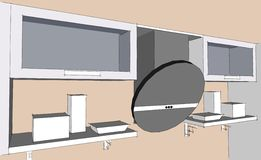 Sketch drawing of 3d grey modern kitchen interior with round hood and glass doors of cupboards Stock Images