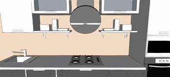 Sketch drawing of 3d grey modern kitchen interior with round hood and glass doors of cupboards Royalty Free Stock Photo