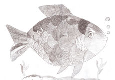 Sketch drawing of a fish. Royalty Free Stock Photography