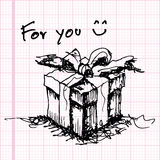 Sketch drawing of gift on graph paper vector Royalty Free Stock Images
