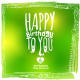 Sketch drawing green birthday card Royalty Free Stock Image