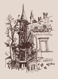 Sketch drawing of historical building from Kyiv Ukraine landmark Royalty Free Stock Photo