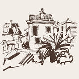 Sketch drawing of historical building with palm in Budva Montene Stock Photos