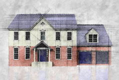 Sketch drawing of a house Stock Photo