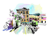 Sketch drawing of Italy village landscape  Royalty Free Stock Photography