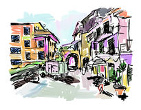 Sketch drawing of Italy village landscape  Royalty Free Stock Photos