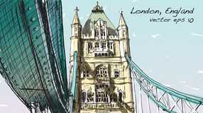 Sketch drawing in London England show Tower Bridge, illustration Royalty Free Stock Photos