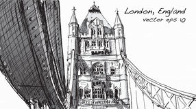 Sketch drawing in London England show Tower Bridge, illustration Stock Photo
