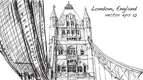 Sketch drawing in London England show Tower Bridge, illustration Royalty Free Stock Images