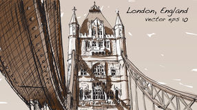 Sketch drawing in London England show Tower Bridge in Sepia tone Royalty Free Stock Photography
