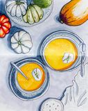 Sketch drawing by markers in sketchbook Pumpkin soup, flat lay stock image