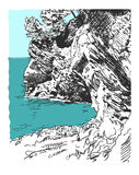 Sketch drawing of nature rock at adriatic sea in Petrovac Monten. Digital sketch drawing of nature rock at adriatic sea in Petrovac Montenegro, vintage touristic Royalty Free Stock Images