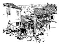 Free Sketch Drawing Of Old Town View Kotor Montenegro, Vintage Touris Royalty Free Stock Images - 77399379