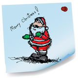 Sketch drawing of Santa claus on sticky  paper vec Stock Photos