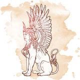 Sketch drawing of sitting sphinx isolated on grunge background. Sitting Sphinx. Ancient Greek mythical creature with beautiful woman torso lion body and eagle Royalty Free Stock Images