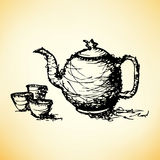 Sketch drawing of teapot with cup vector Royalty Free Stock Photography