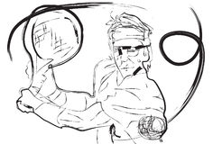 Sketch drawing tennis Stock Images