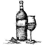 Sketch drawing of wine bottle and glass vector Stock Photos