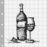 Sketch drawing of wine on grey graph paper vector Royalty Free Stock Photo