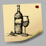 sketch drawing of wine on sticky  paper vector Stock Photo