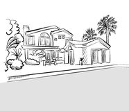 Sketch dream house among palm trees Royalty Free Stock Photography