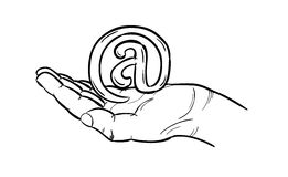 Sketch of the e-mail sign Royalty Free Stock Photography