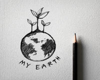 Sketch of earth concept on white paper Royalty Free Stock Photos