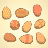 Sketch Easter eggs set in vintage style Royalty Free Stock Photos