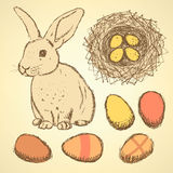 Sketch Easter set in vintage style Stock Photography