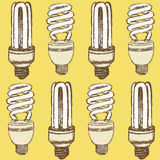 Sketch economic light bulb in vintage style Stock Photo