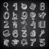 25 sketch education icons, numbers and objects on. Black background Royalty Free Stock Photography