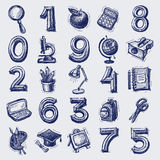 25 sketch education icons. Numbers and objects, vector illustration Royalty Free Stock Image