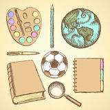 Sketch education set in vintage style Stock Photos