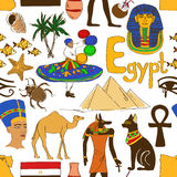 Sketch Egypt seamless pattern Royalty Free Stock Photos
