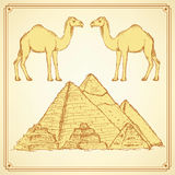 Sketch Egypt set in vintage style Royalty Free Stock Images