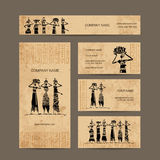 Sketch of egypt women with jugs. Business cards Stock Images