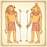Sketch Egyptian gods in vintage style Royalty Free Stock Image