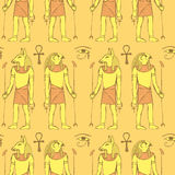Sketch Egyptian gods in vintage style Royalty Free Stock Photos