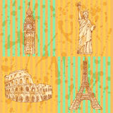 Sketch Eifel tower, Coliseum, Big Ben and Statue of Liberty, vec Stock Photography