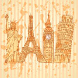 Sketch Eifel tower, Pisa tower, Big Ben and Statue of Liberty, v Royalty Free Stock Photos
