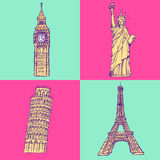 Sketch Eifel tower, Pisa tower, Big Ben and Statue of Liberty, v Stock Image
