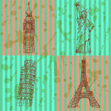 Sketch Eifel tower, Pisa tower, Big Ben and Statue of Liberty, v Stock Photo