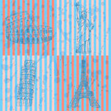 Sketch Eifel tower, Pisa tower, Coloseum and Statue of Liberty, Stock Photos