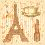Sketch Eiffel tower, lipstick and cup, vector background Royalty Free Stock Images