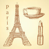 Sketch Eiffel tower, lipstick and cup, vector background Royalty Free Stock Photo