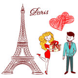 Sketch Eiffel Tower in love with a guy and girl with hearts and gifts Royalty Free Stock Photos