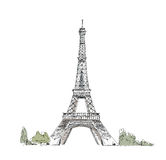 Sketch of Eiffel Tower Paris Stock Images